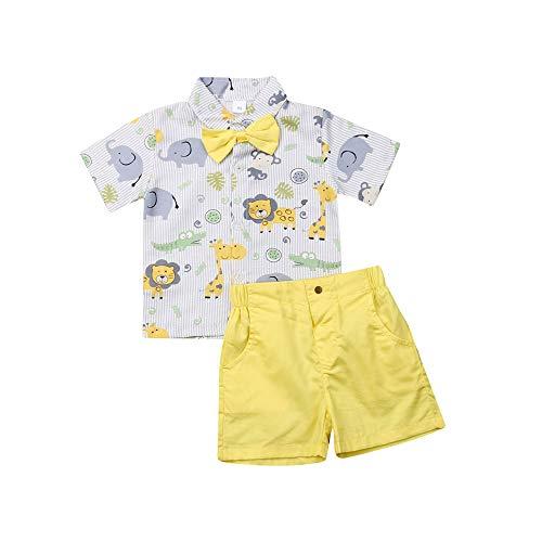 Conjunto de ropa para bebé de manga corta + pantalones cortos de gentleman suit trajes cortos bautizo fiesta bodas traje 1 – 6 años niños verano ropa Set Elefante y amarillo. 4-5 Años