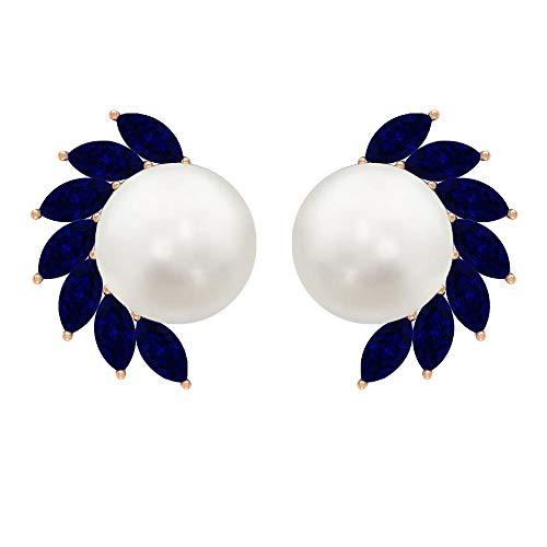 Pendientes de perlas de agua dulce de 8 mm, 4X2 mm corte marquesa zafiro azul, pendientes de oro macizo solitario para mujer, 18K Oro rosa, Par