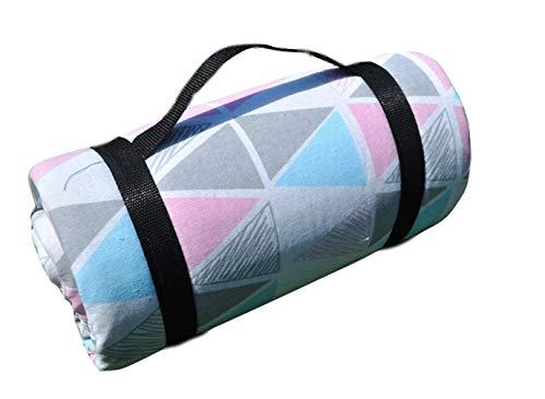 X-Labor Bohemian Picknick Decke 200x150 cm XXL Baumwolle Leinen mit wasserdichter PEVA Unterseite Wärmeisoliert Stranddecke Campingdecke Motiv-G