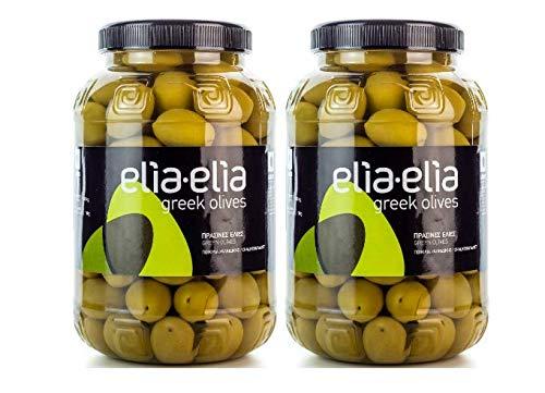 2x 1kg grüne griechische Chalkidiki Oliven sehr groß super Mammut Mammouth eingelegt in Lake + 10ml Olivenöl zum Test im Set - Chalkidiki Griechenland