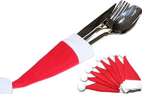 ~ ~ set ~ ~ 8pezzi posate tasche sacchetto portaposate tavolo decorazione ~ ~ Babbo Natale berretto