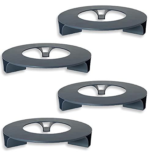 terraced® - 4er Set - Blumentopf Untersetzer - Farbe: Anthrazit - Rund - 27cm Durchmesser – Untersetzer Blumentopf – Recycling Material - Made in Germany