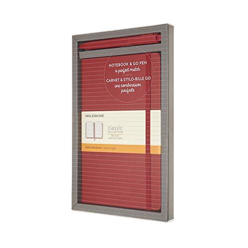 Moleskine Bundle Vertical Notebook Classic Pagina a Righe e Penna Go, Taccuino Copertina Rigida e Chiusura ad Elastico, Dimensione Large 13 x 21 cm, 192 Pagine, Rosso Scarlatto