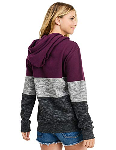 esstive Women's Ultra Soft Fleece Midweight Casual Tri-Color Block 1/4 Zip-Up Pullover Hoodie Sweatshirt, Plum, Small