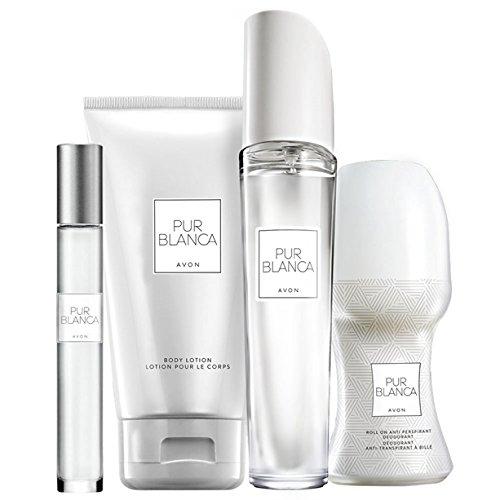 Avon Pur Blanca Parfumset 4 tlg. Eau de Parfum Spray/Bodylotion/Deoroller/Parfumroller blumig/frisch +weihnachtliche Geschenktasche