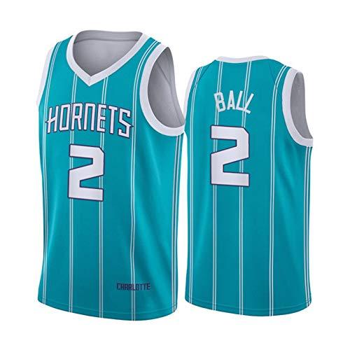 Hornets Guard - Camiseta de baloncesto para hombre, diseño de bola 2#, 21 New Season City para entrenamiento de baloncesto para hombre, Sport Best Rookie - Ball sin mangas de malla, color azul
