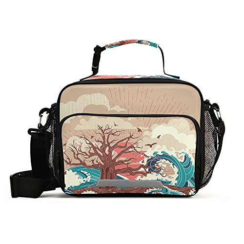Insulated Lunch Bag Tree Ocean Sea Sunset Lunch Box Container with Detachable Shoulder Strap Insulated Lunch Coolers for Kids/Adult
