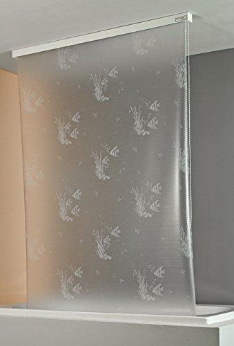 ECO-DuR,4024879001872,Ersatzvorhang Kassetten Duschrollo Seitenzug 134cm - Fische weiß
