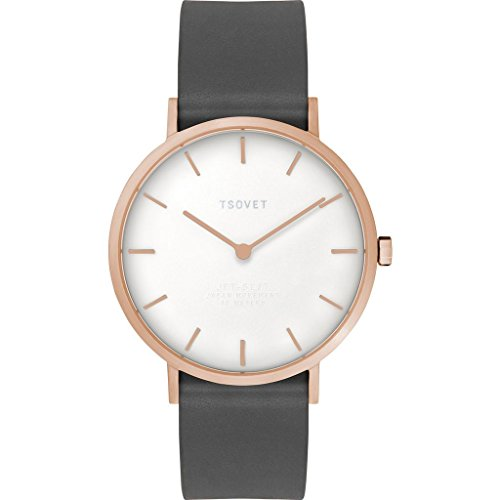 Tsovet SVT-SL37 Rose Gold & Whtie Watch | Black Leather