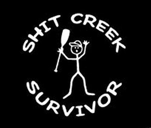 Keen Shit Creek Survivor Vinyl Sticker Decal   Cars Trucks Vans Walls Laptop   White   5 x 5 In   KCD299