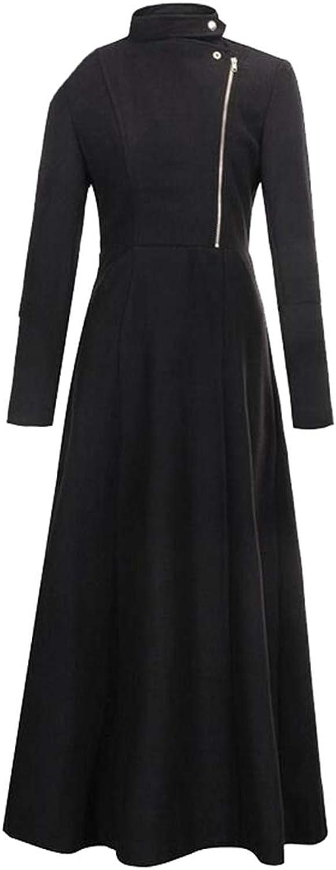 LEISHOP Women's Lapel FullLength Slim Fit Zipper Trench Wool Coat with Belt