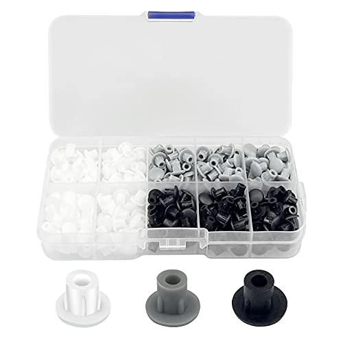 390 tapones de 5 mm para agujeros de perforación de plástico, tapas de perforación, tapas redondas para agujeros de tornillo, para muebles, cocina, armario, estanterías (negro, blanco, gris)