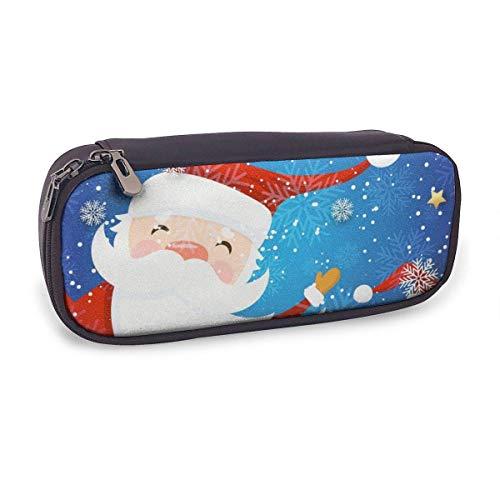 Estuche Escolar de Gran Capacidad,Feliz Navidad Dibujos Animados de Vacaciones de Invierno,Bolsa de Lápiz Organizador para Material Papelería con Cremallera Doble