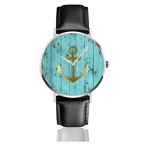 Azul turquesa ancla náutica madera verde azulado reloj de cuarzo movimiento impermeable correa de reloj de cuero para hombres mujeres simple negocios casual reloj