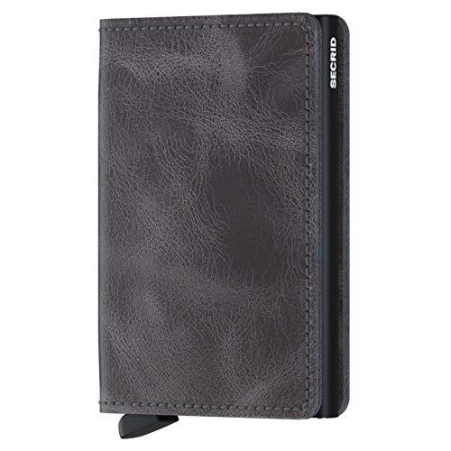 SECRID - Secrid Slim wallet Genuine Vintage Grey Leather Black RFID Safe Card Case for max 12 cards