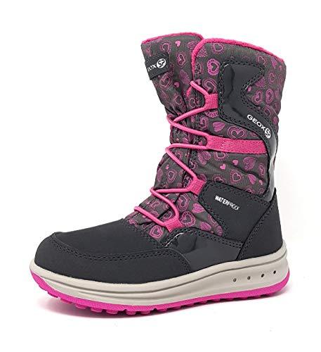 Geox Mädchen Snowboots Roby Girl WPF, Kinder Winterstiefel,Schneeboots,Schneeschuhe,Moon Boots,Canadians,DK Grey/Fuchsia,28 EU / 10 UK Child