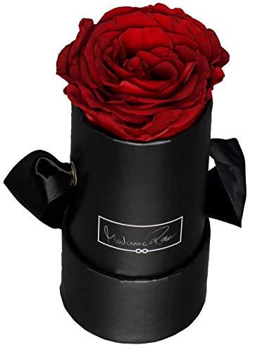 MadameRose Rosenbox rund mit 1 konservierten roten Rose in schwarzer Hutschachtel als Geschenk und Deko, Größe S, echte Premium Rosen 3 Jahre haltbar