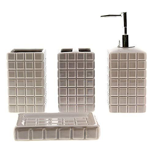Cuco´S Nest Set de Baño de 4 Piezas de Ceramica Mod. GRESITE Beige. Conjunto de Accesorios de sobreponer para el Lavabo.