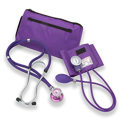 Professional Dual Head Sprague Stethoscope Stainless Steel with Manual Blood Pressure Cuff (Purple) - Ideal Gift for Medical Students, Doctors, Nurses, EMT and Paramedics