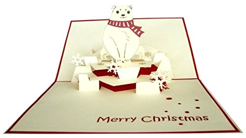 Carte de voeux 3D pop up carte de voeux Cartes de Noël Ours Polaire (# 415)