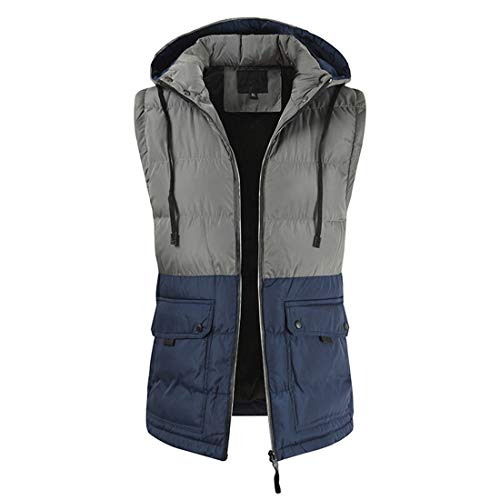 Men Hoodie Quilted Vest Outdoor Vest Winter Vest with Hood Drawstring Pocket Zipper Warm Thick Sleeveless Padded Top Autumn Winter New Leisure Sport Hiking Sports Jacket 3XL