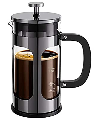 BAYKA French Press Coffee Tea Maker, 304 Stainless Steel Coffee Press with 4 Level Filtration System, Heat Resistant Thickened Borosilicate Glass, 34 Ounce, Dark Pewter