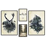 decomonkey   Poster 4er– Set schwarz-weiß Bilder Set