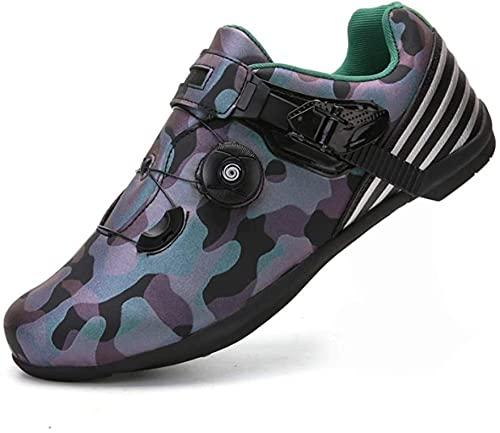 KUXUAN Calzado de Ciclismo Hombre - Botas de Moto Botas de Ciclismo de Protección Anticaída Calzado de Carreras/Suela de Goma,Green-36EU