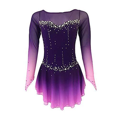 LWQ Skating Königin Eiskunstlauf-Kleid, für Mädchen-Frauen-Eislauf-Wettbewerb Abschneiden Kostüm Strass Handgemachte Professionelle elastische atmungsaktiv,Child 10