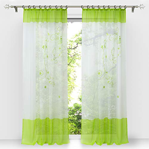 HongYa 1 Stück Bestickte Gardine Transparenter Voile Vorhang Fensterschal mit Kräuselband H/B 175/140 cm Grün