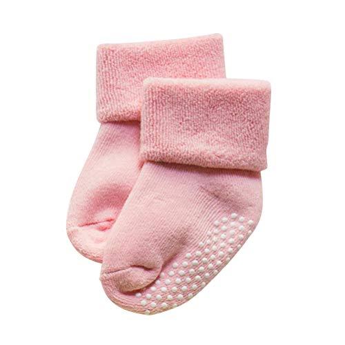 Fenical Baby Socken für Jungen und Mädchen Herbst und Winter Neugeborene Baumwolle Verdickung Lose Mund Kinder Terry Socken 1-3 Jahre Alt (Rosa)