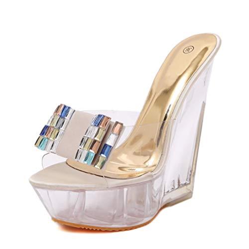 Plateforme Compensée Sandales Eté Cristal Été Transparent Peep Toe Talon Haut Diapositives Sandale