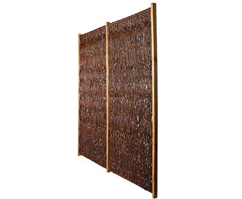 bambus-discount.com Weidenzaun günstig London New mit 180 x 180cm - Sichtschutzelement Sichtschutzzaun aus Weide mit Rahmen
