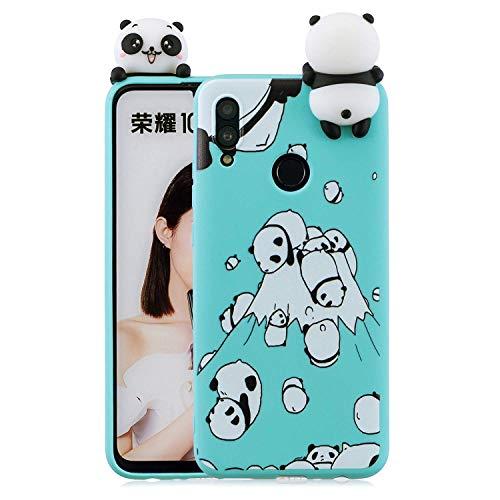 Wubao Compatible con Funda Huawei Honor 10 Lite, Carcasa 3D Animal Muñeca Color Caramelo Case Cover Ultrafino Mate Suave Flexible Silicona TPU Gel Protector Antigolpes - Panda