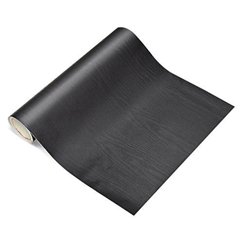 KINLO Möbelaufkleber 5x0.6M Selbstklebende Klebefolien holzoptik Wasserdicht Möbelsticker für Schrank Möbelsticker die Möbel verschönen Küchefolie leicht reinigen antibakteriell(Schwarz)
