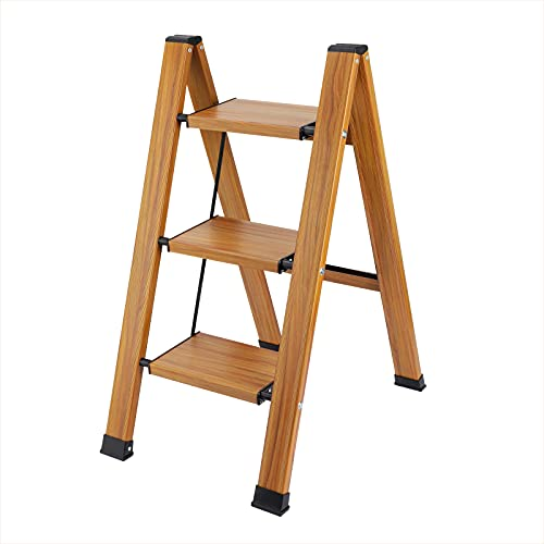 Synlyn Escalera plegable de 3 peldaños, escalera plegable doméstica, escalera plegable ligera de aluminio de seguridad, estable hasta 150 kg, antideslizante, para decoración del hogar