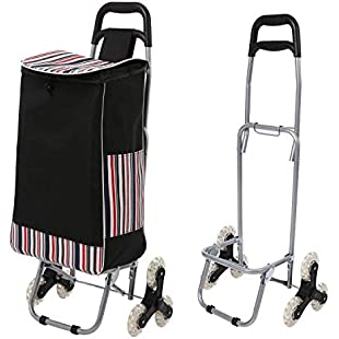 Acecoree Shopping Trolley Tri-Wheel Folding Stair Climbing Cart Grocery Laundry Utility Cart Dolly with Removable Waterproof Bag for Shopping Travel:Porcelanatoliquido3d