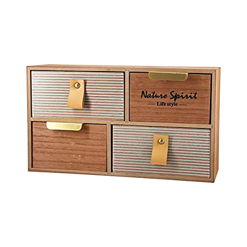 Caja de Madera Almacenamiento Joyero Organizador con Cajón Vintage Mini Mueble para Escritorio, Hogar, Decoracion Caja de Joyeria (Modelo 3)