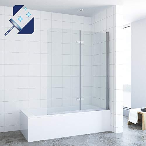 AQUABATOS® 120 x 140 cm Duschtrennwand für Badewanne Badewannenfaltwand Badewannenaufsatz Hebe-senkmechanismus faltbar Duschwand Glas aus 5 mm Einscheiben Sicherheitsglas Echtglas Nano Beschichtung