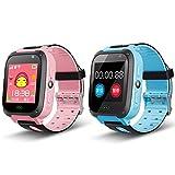 Smart Watch para niños, Reloj de Pulsera para niños con 1.44 Pulgadas Touchscteen GPS/LPS Traacker con Llamada bidireccional Chat de Voz Anti-Lost SOS Linterna LED(Azul)