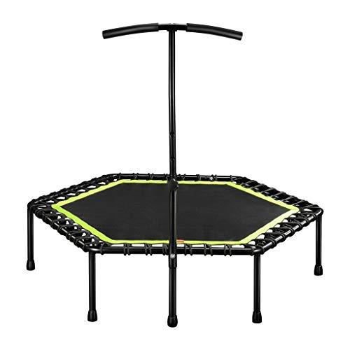 DIMPLEYA 48' Silent Mini Trampoline avec Poignée Réglable Bar Fitness Trampoline Intérieur Bungee Trampoline Saut Cardio Workout Entraîneur,Vert
