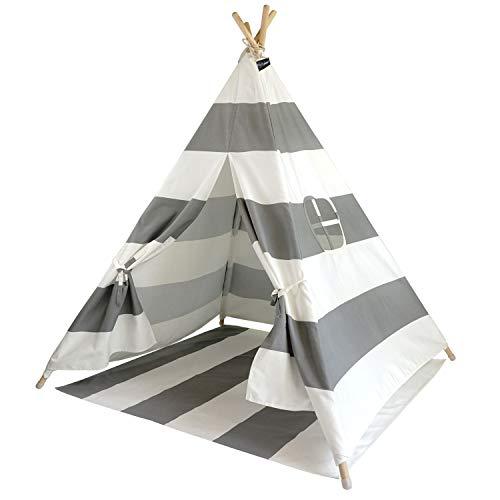 Hej Lønne Kinder Tipi, grau weiß gestreiftes Zelt, circa 120 x 120 x 150 cm groß, Spielzelt mit Bodendecke und Fenster, inkl. Beutel und Anleitung, für drinnen und draußen, schadstofffrei