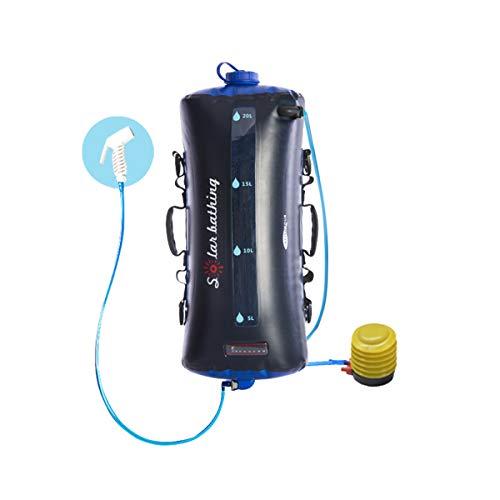 Bolsa de ducha solar de 5 galones/20 l portátil de agua de ducha bolsa de almacenamiento de presión para viajes al aire libre senderismo (tamaño: bomba de aire ordinaria)