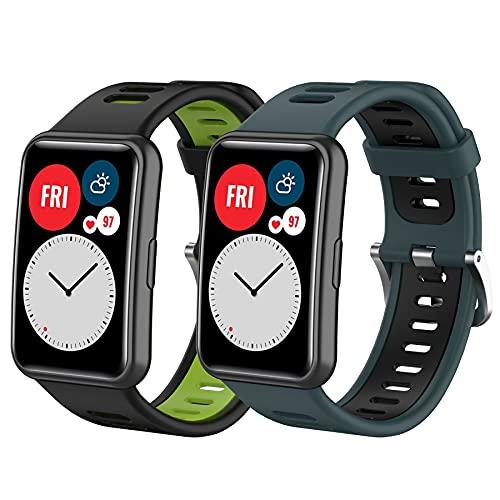 Mijobs 2 Correas Compatibles con Huawei Watch Fit Pulsera, Accesorios de Reloj Correa de Repuesto Hauwei Watch Fit Correa de Silicona Huawei Watch Fit Deportiva Correa