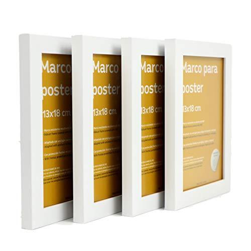 Nacnic Set de 4 Marcos Blancos para Fotos, Posters, láminas, Diplomas. Tamaño(13x18 cm).Robustos de MDF y Frontal de plexiglas.Marcos Blancos para Colgar