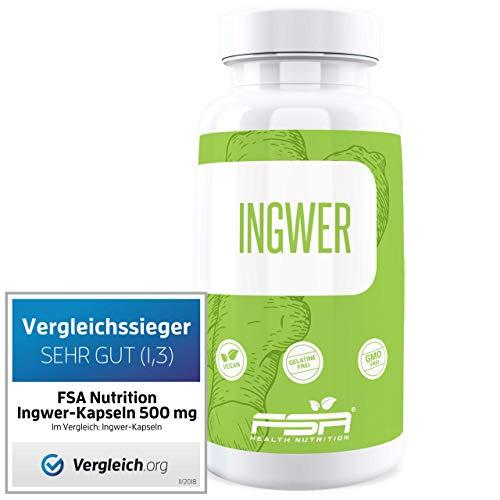 Ingwer 90 Kapseln, 500 mg pro Kapsel, Vergleichssieger, Vegan - Made in Germany - FSA Nutrition