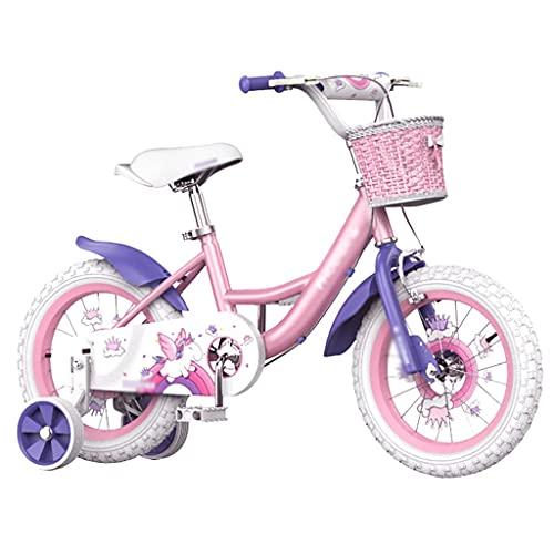 Durable Bicicleta de las muchachas rosadas, marco ligero de acero al carbono, manillar ajustable, 12 'neumático antideslizante antideslizante, para niñas y niños de 3 a 5 años de edad ( Color : Pink )