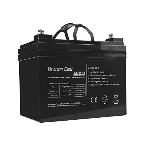 Green Cell® Akku Bleiakku Batterie AGM (12V 33Ah VRLA Faston B3) Zyklenfester Sealed Lead-Acid Blei Ersatzakku Solar Solarpanel Batterie Photovoltaik Versorgungsbatterie wartungsfrei Varianten
