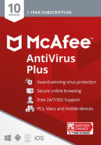 McAfee AntiVirus Plus - 10 Devices [Activation Card by Mail]