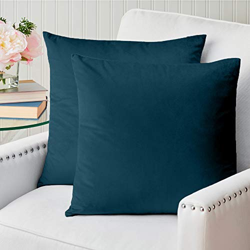 The Connecticut Home Company Velvet Throw Pillow Covers, 18x18 Set of 2, Soft Decorative Square Pillowcases, Luxury Home Décor Accent Cushion Cases for Livingroom Couch, Bedroom, Sofa Bed, Sapphire